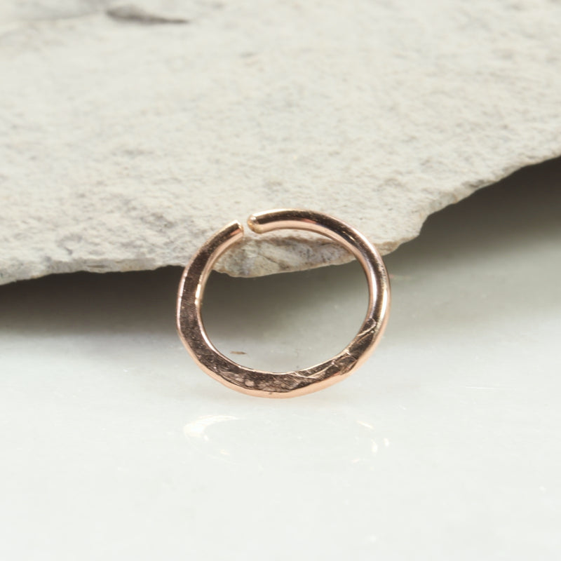 chiseled 14 gauge hoop earring single pink gold