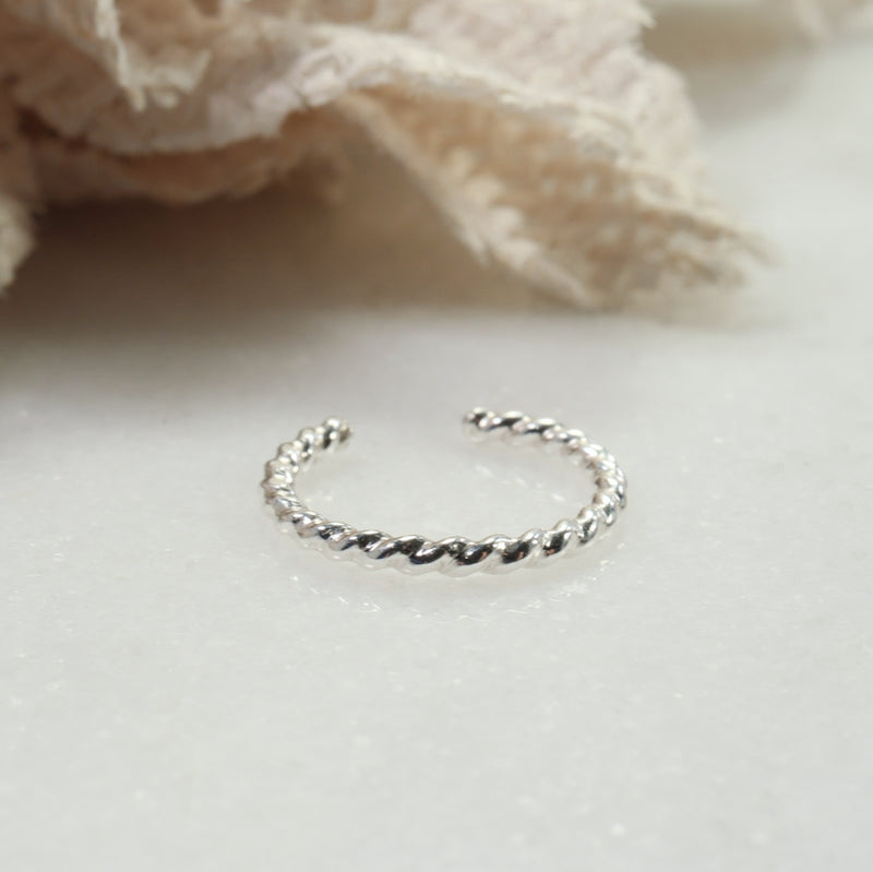 dot twist ear cuff silver side view