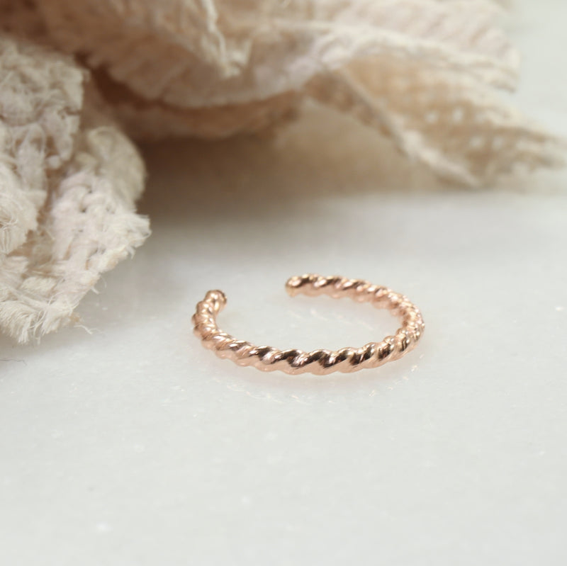 dot twist ear cuff pink gold