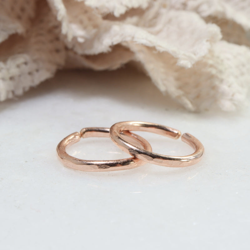 face hammered thick gauge hoops pink gold
