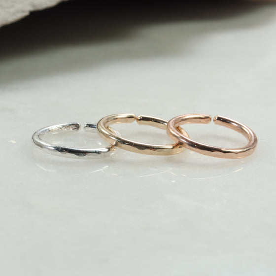 face hammered single hoop earring silver, gold, pink gold