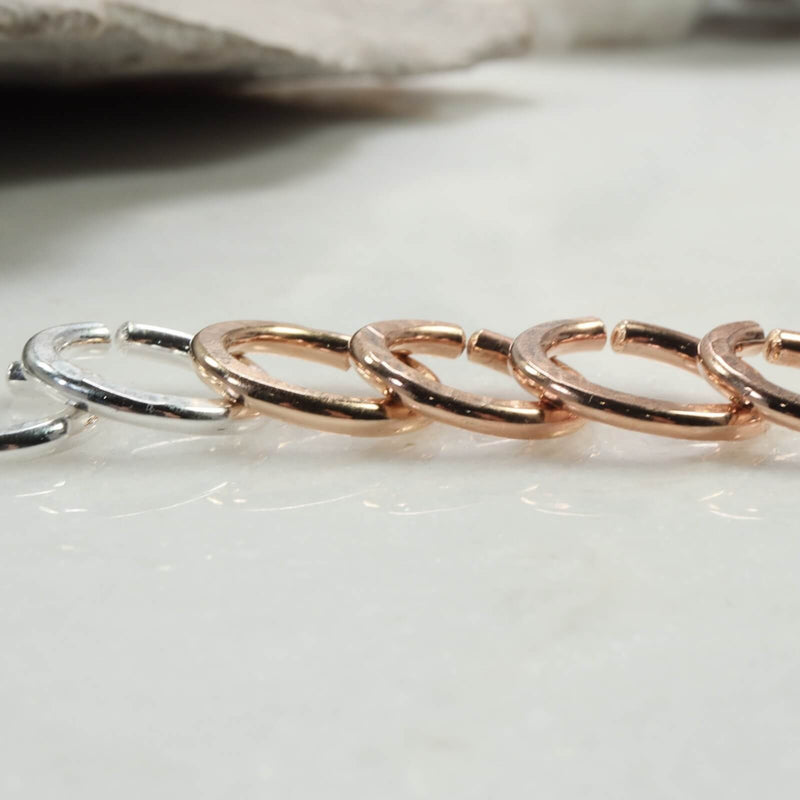 hammered endless 12 gauge silver, gold, pink gold