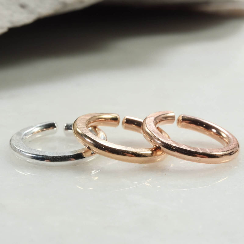 hammered single endless hoop earring silver, gold, pink gold