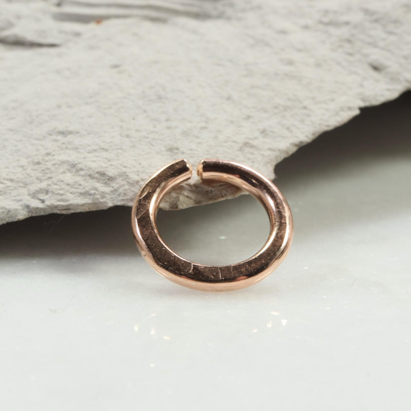 hammered single endless hoop earring pink gold