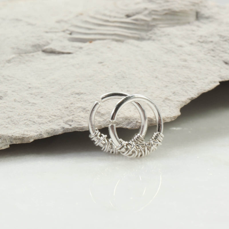 tangled hoop earrings 14 gauge silver