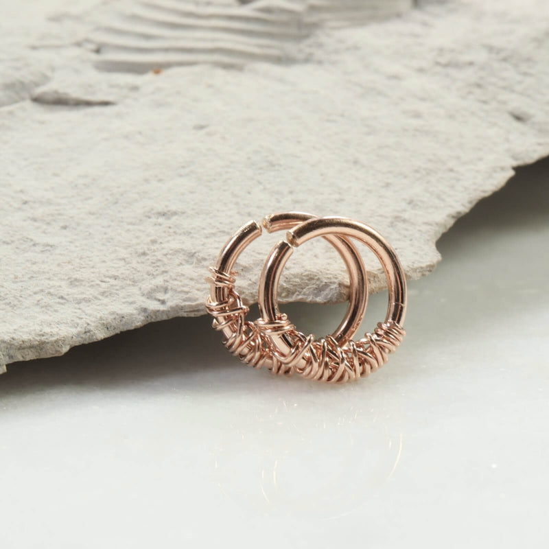 tangled hoop earrings 14 gauge pink gold