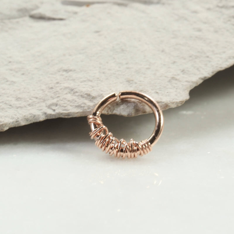 tangled 16 gauge hoop earring single pink gold
