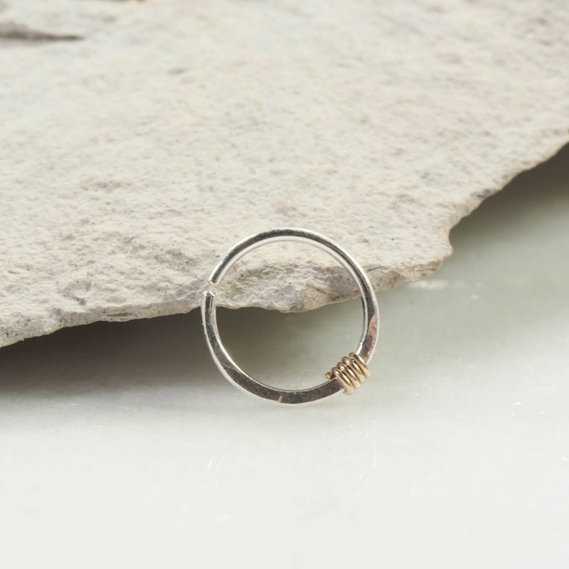 silver hammered & wrapped nose ring gold