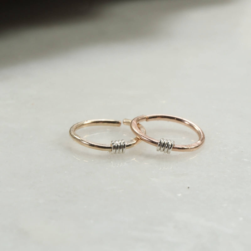 hammered & wrapped nose ring gold, pink gold