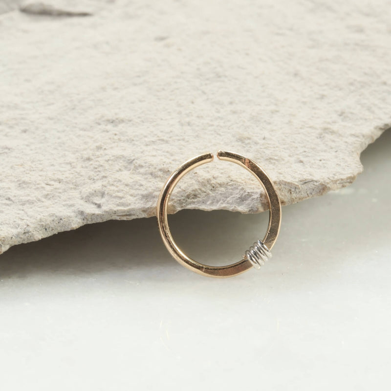 hammered & wrapped nose ring gold