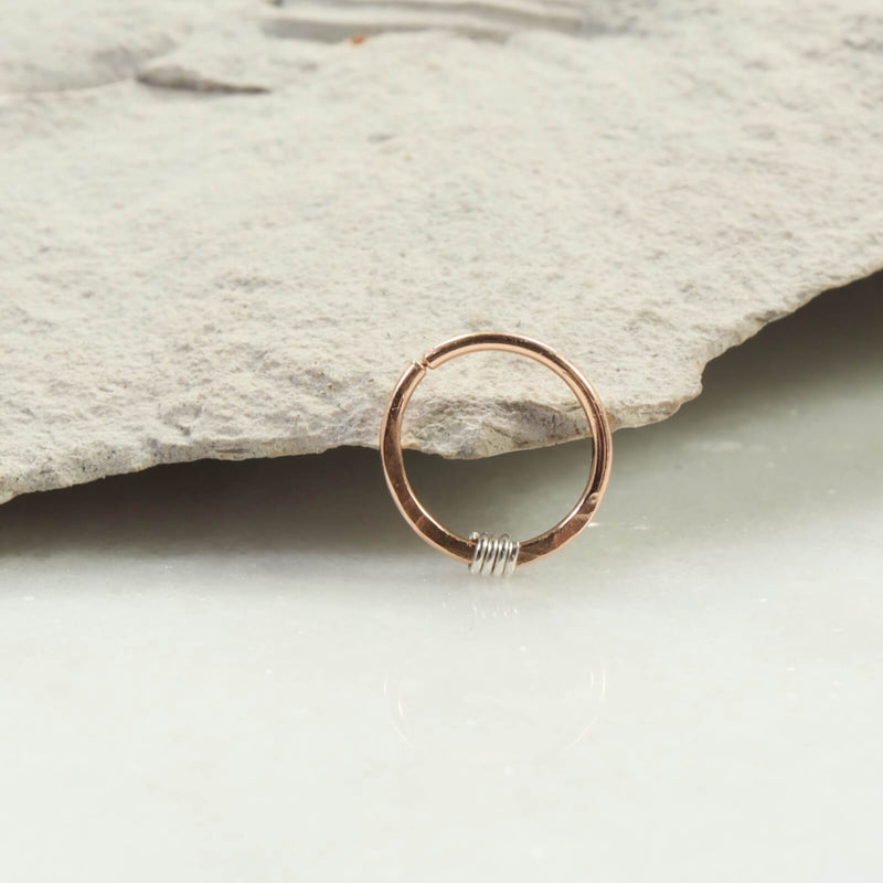 hammered & wrapped nose ring pink gold