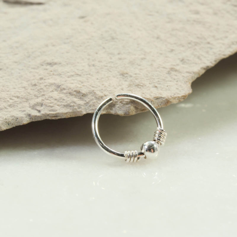 silver wrapped beaded nose ring silver