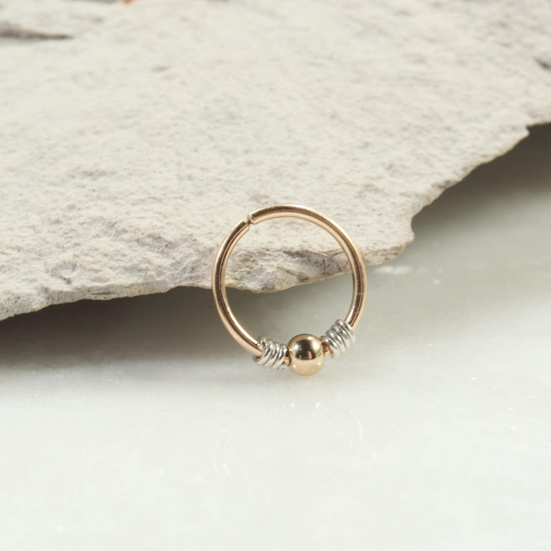 silver wrapped beaded nose ring gold