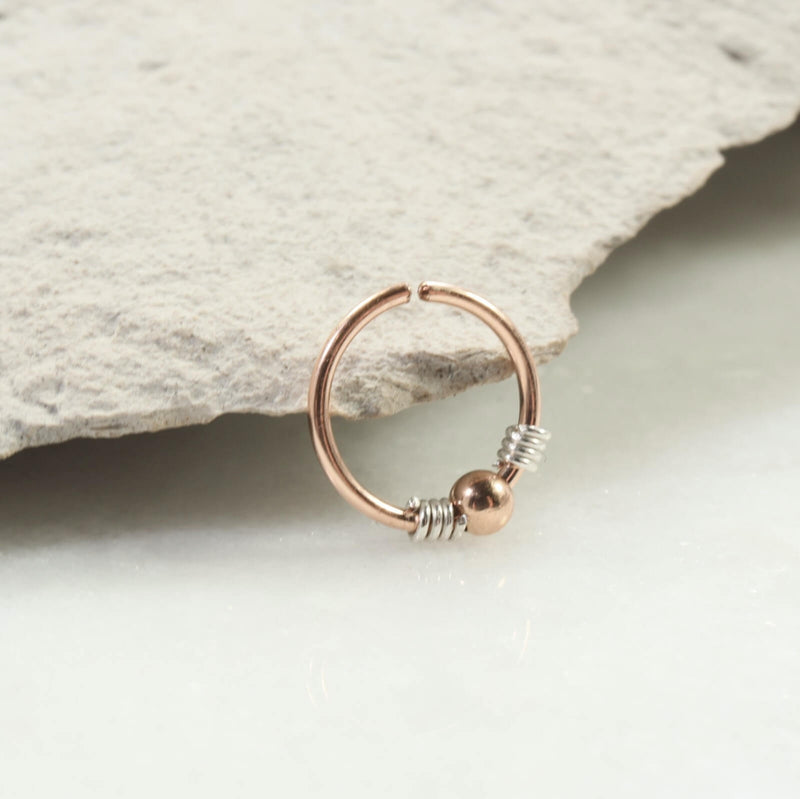 silver wrapped beaded nose ring pink gold