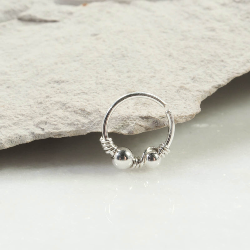 double beaded & wrapped nose ring silver
