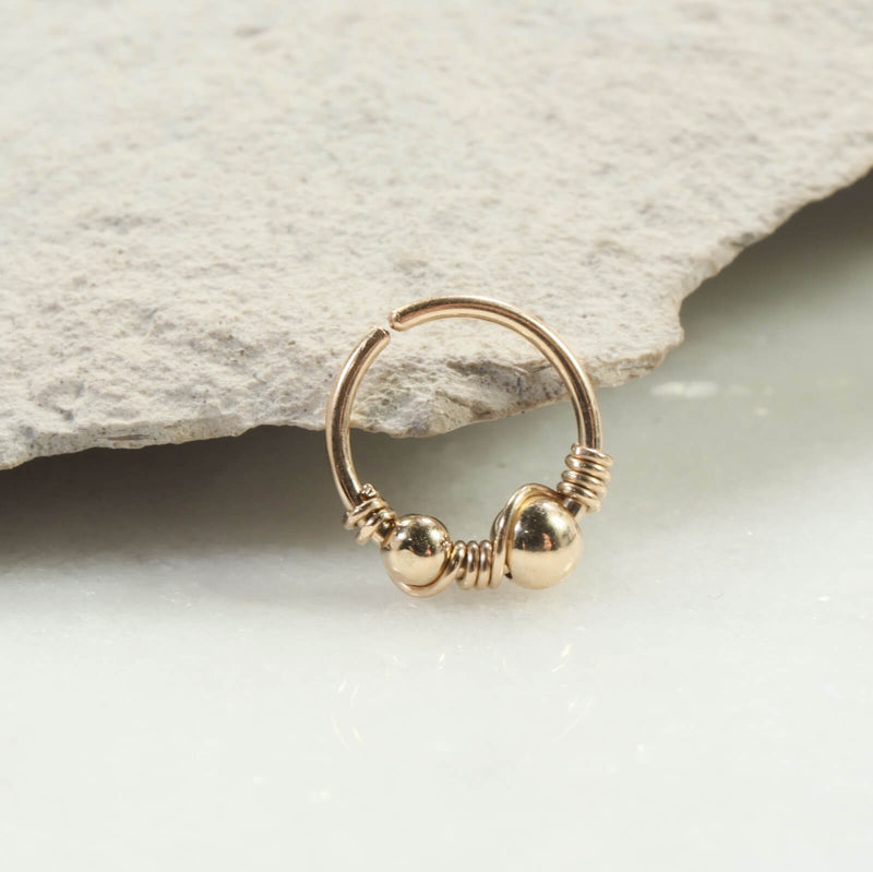 double beaded & wrapped nose ring gold