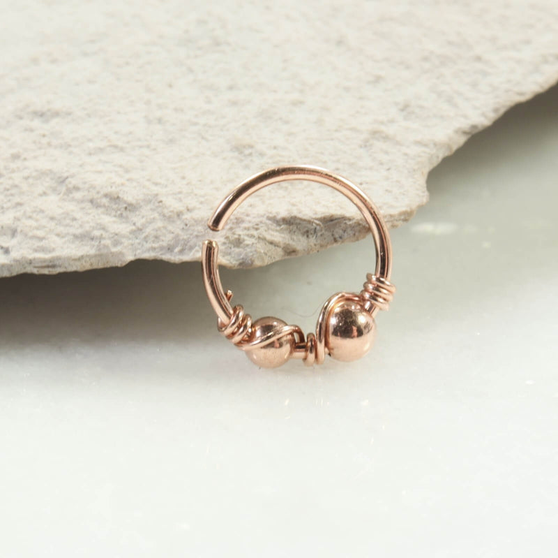 double beaded & wrapped nose ring pink gold