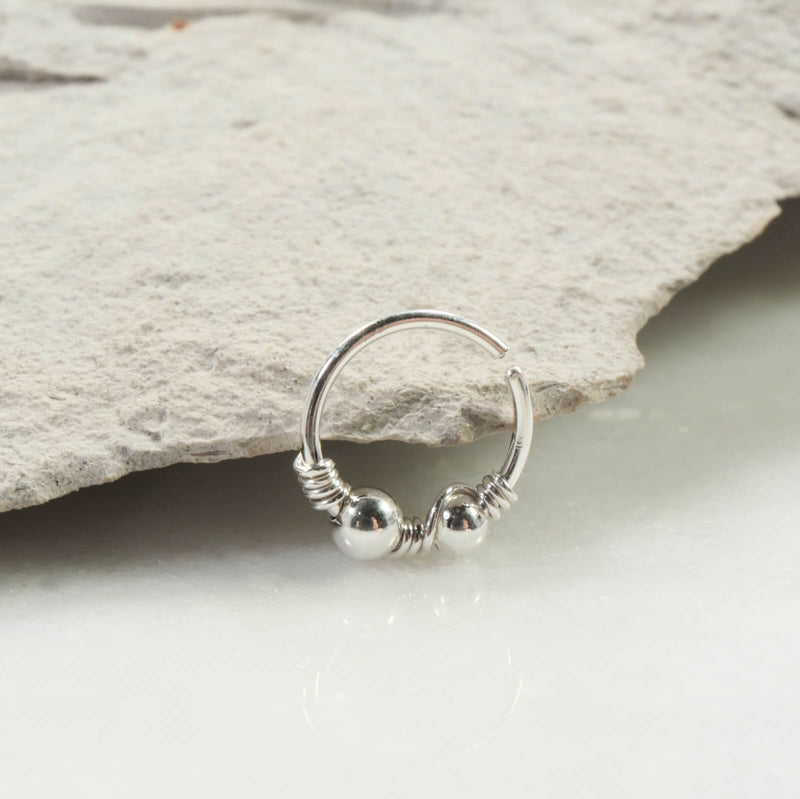 silver beaded double nose ring silver