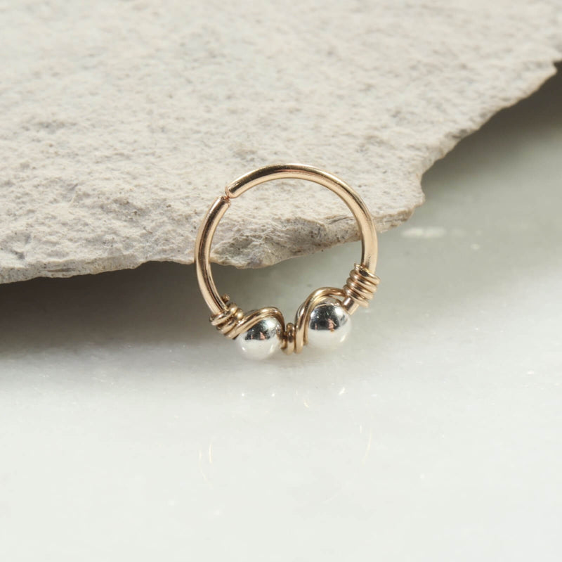 silver beaded double nose ring gold