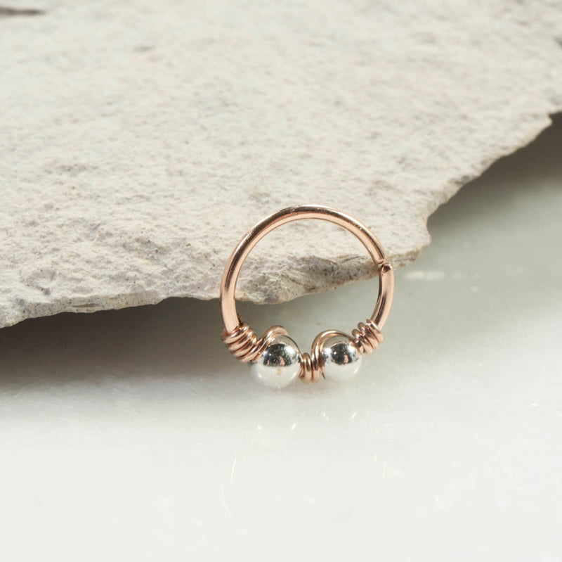 silver beaded double nose ring pink gold