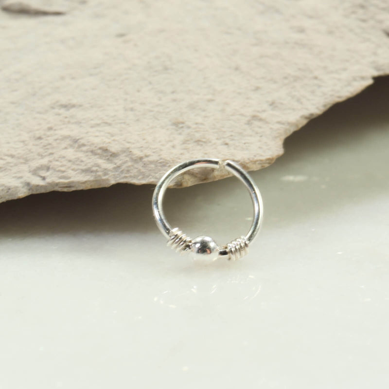 silver bead nose ring silver