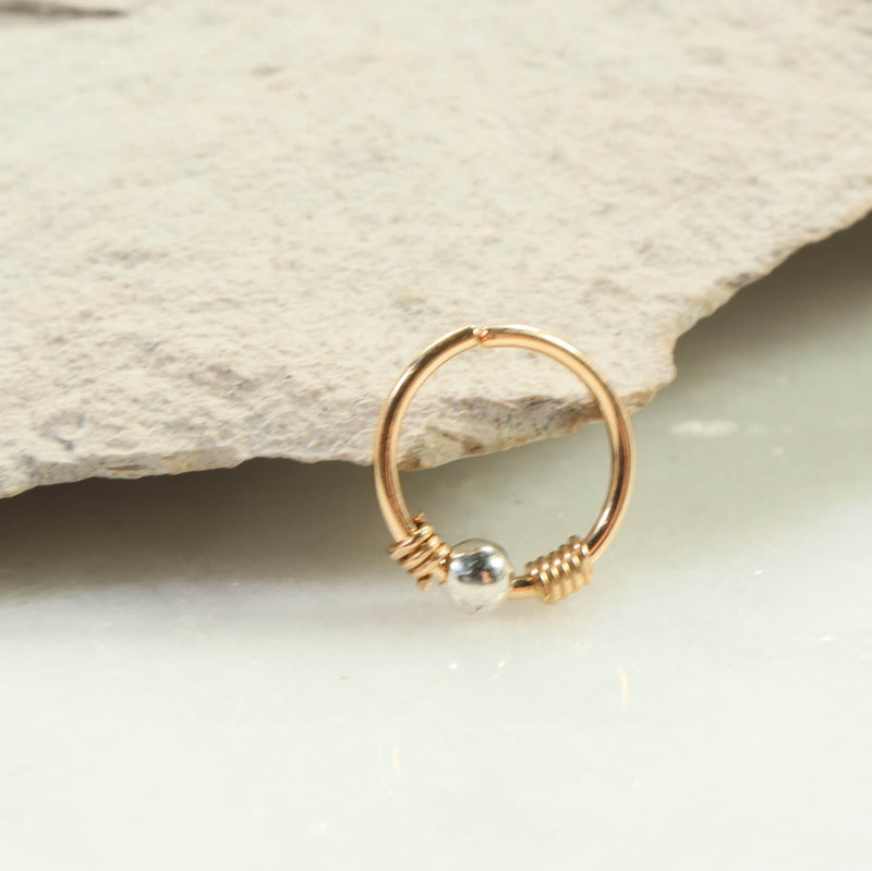 silver bead nose ring gold