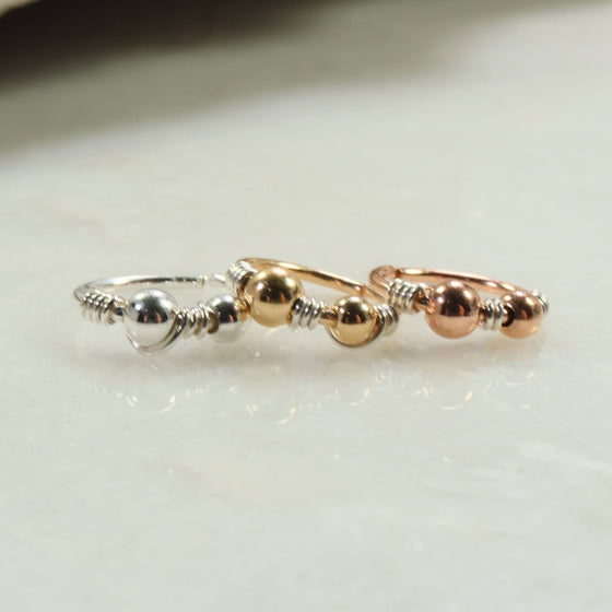 Mixed metals beaded nose ring silver wrap silver, gold, pink gold