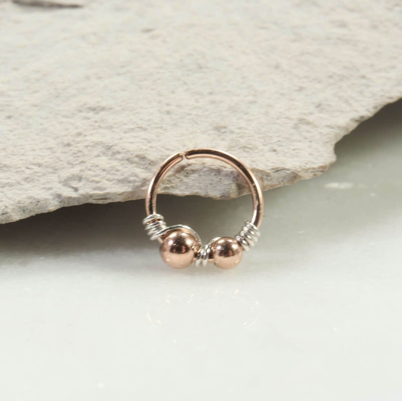 Mixed metals beaded nose ring silver wrap pink gold