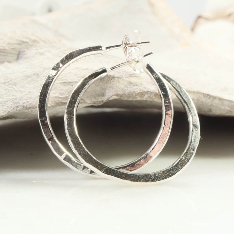 silver post hoop earrings hammered
