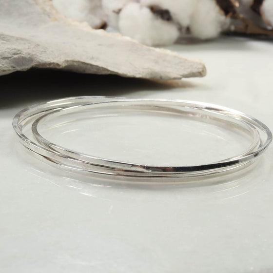 silver square bangle bracelets set of 3