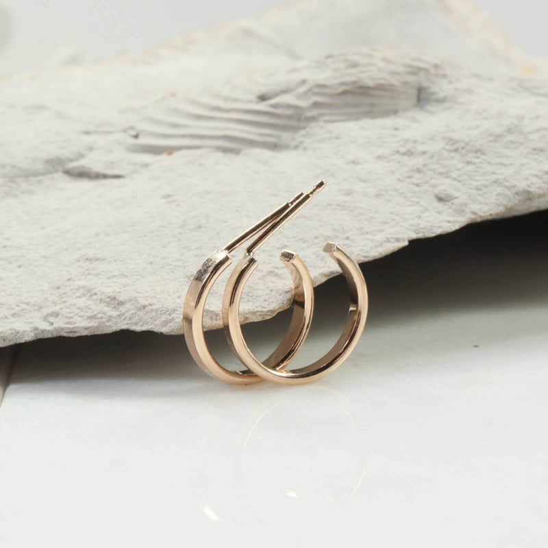 half inch flat 2mm hoop earrings gold