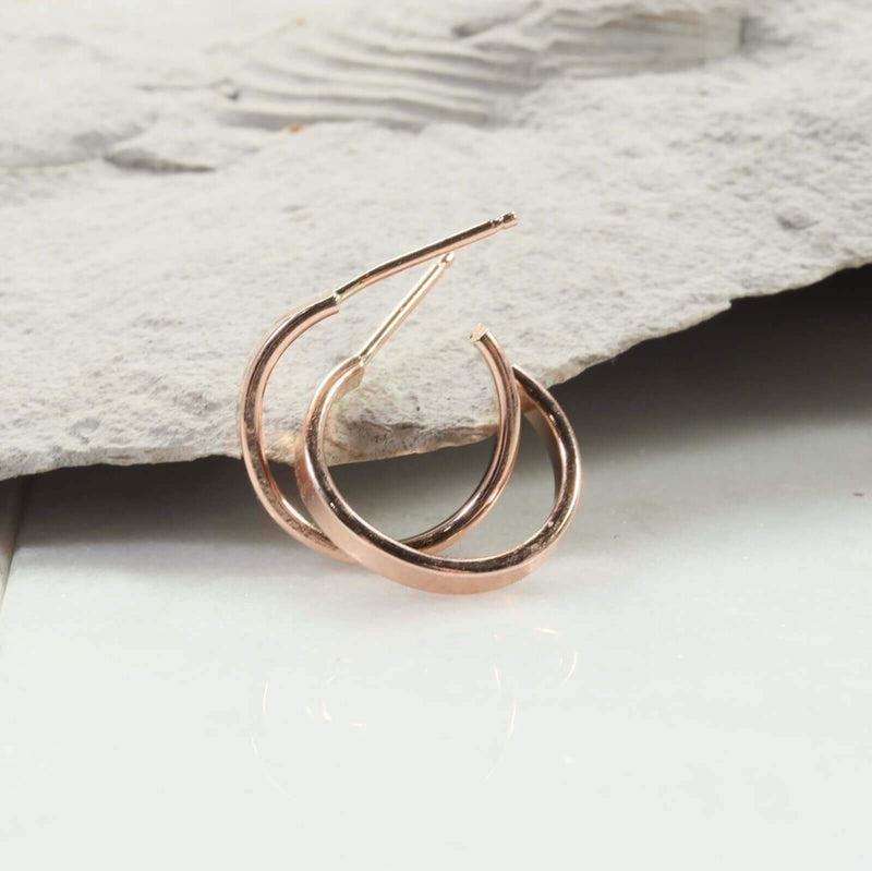 half inch flat 2mm hoop earrings pink gold