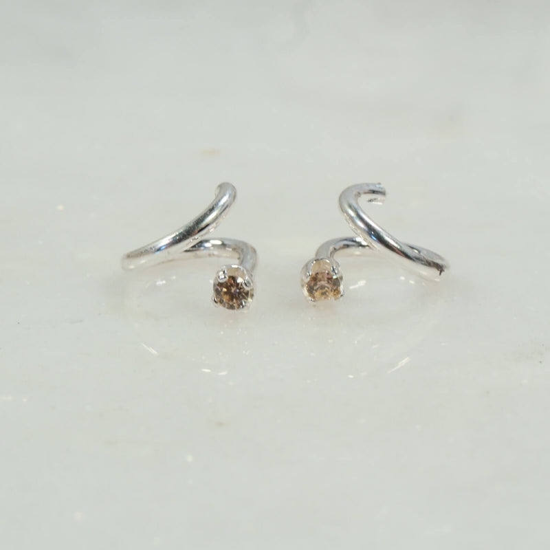 tragus twist earring in silver left and right