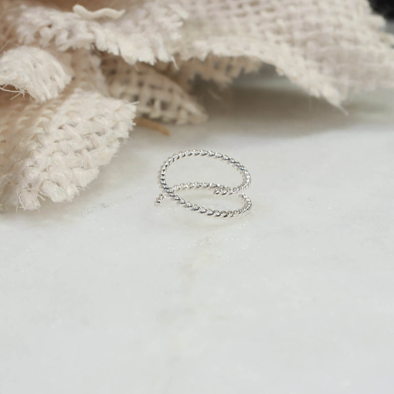 double nose ring dot twist silver