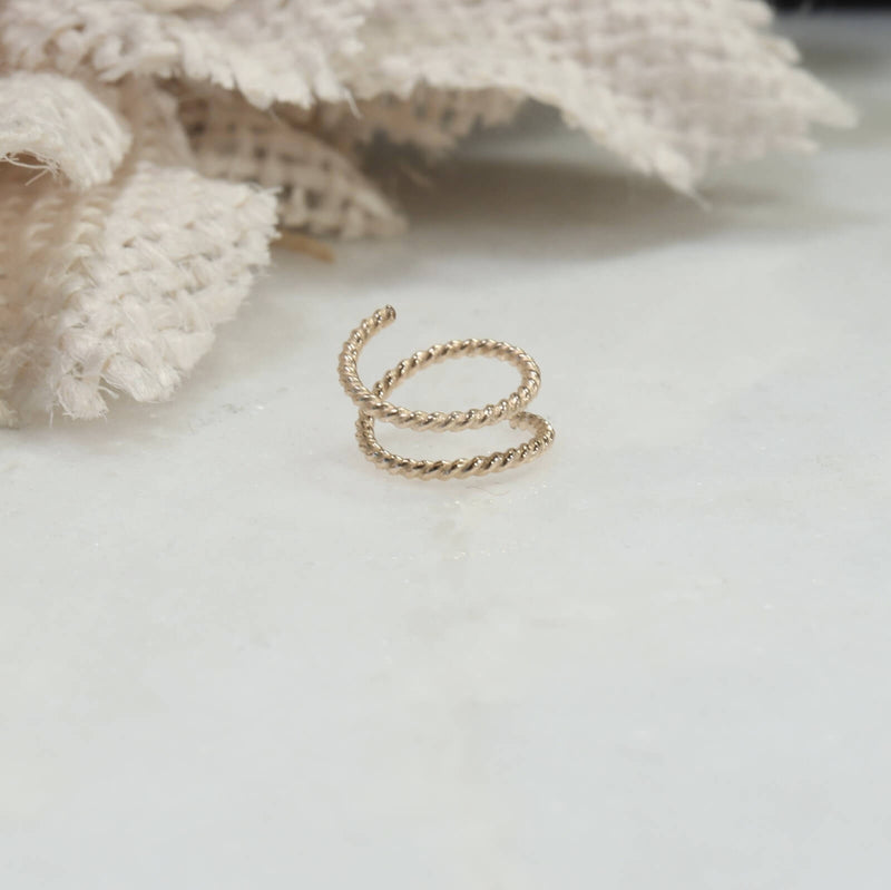 double nose ring dot twist gold