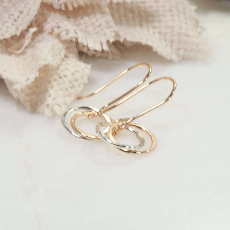 gold with silver yin & yang earrings