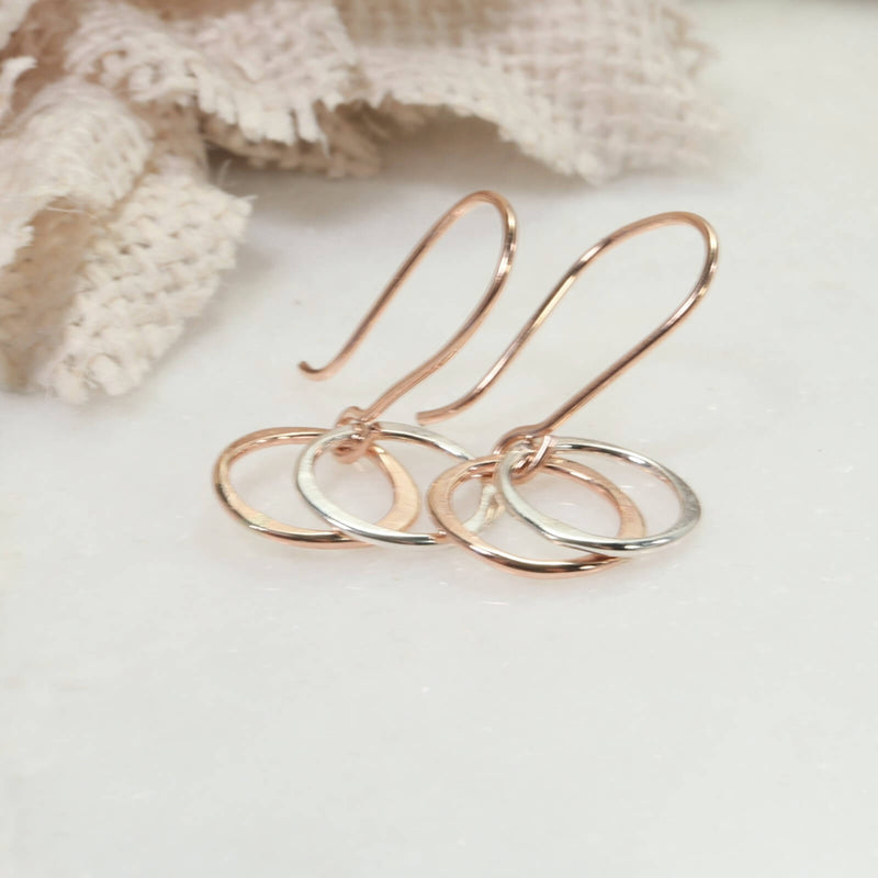 pink gold with silver yin & yang earrings