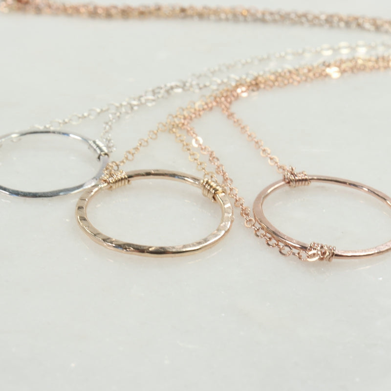 trinity necklace silver, gold, pink gold