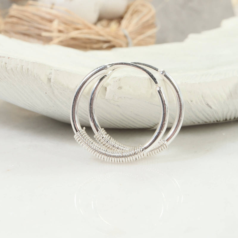 wrapped illusion hoops in silver