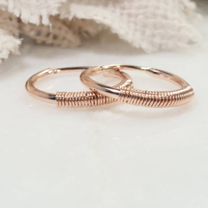 wrapped illusion hoops in pink gold side view