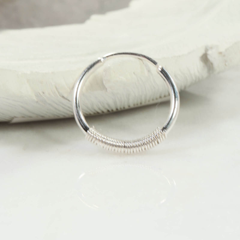 illusions  single 16 gauge wrapped hoop earring silver
