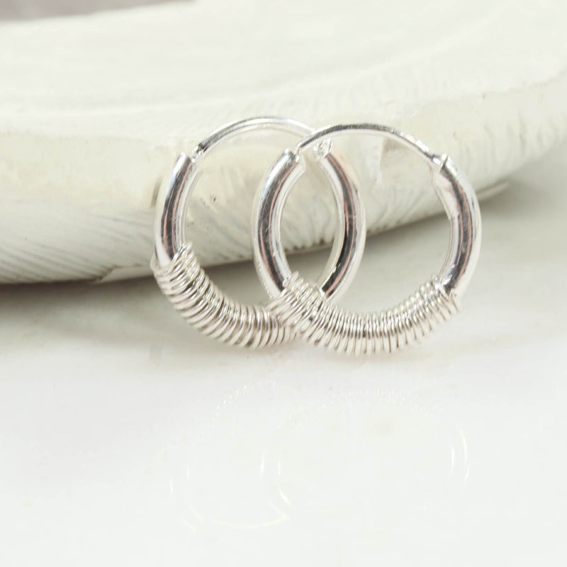 illusions hoops 12 gauge wrapped silver