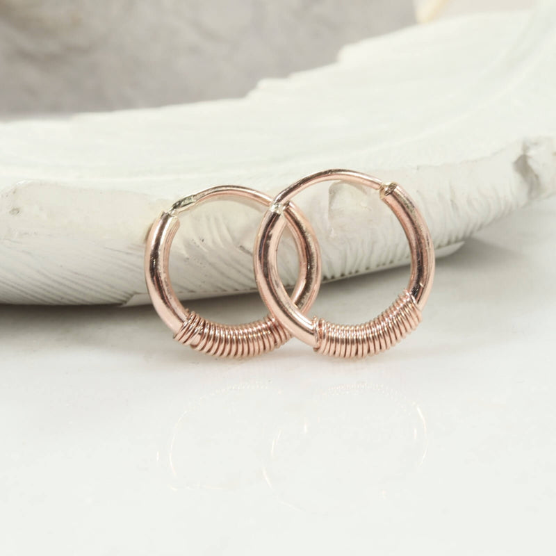 illusions hoops 12 gauge wrapped pink gold