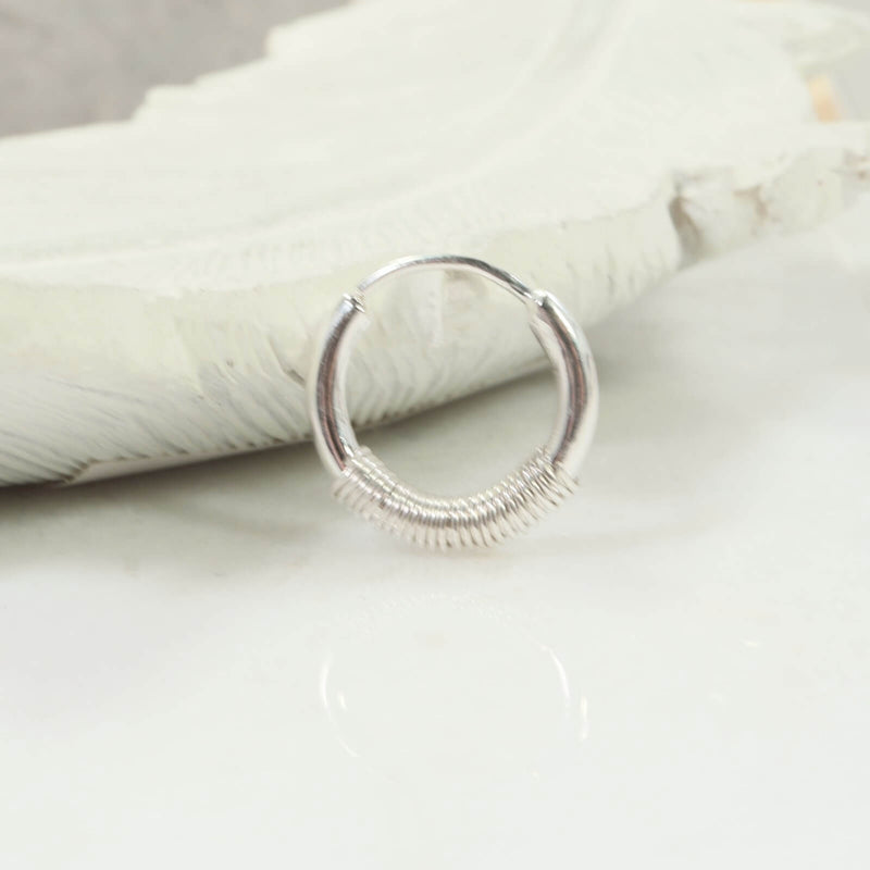 illusion hoop single wrapped silver