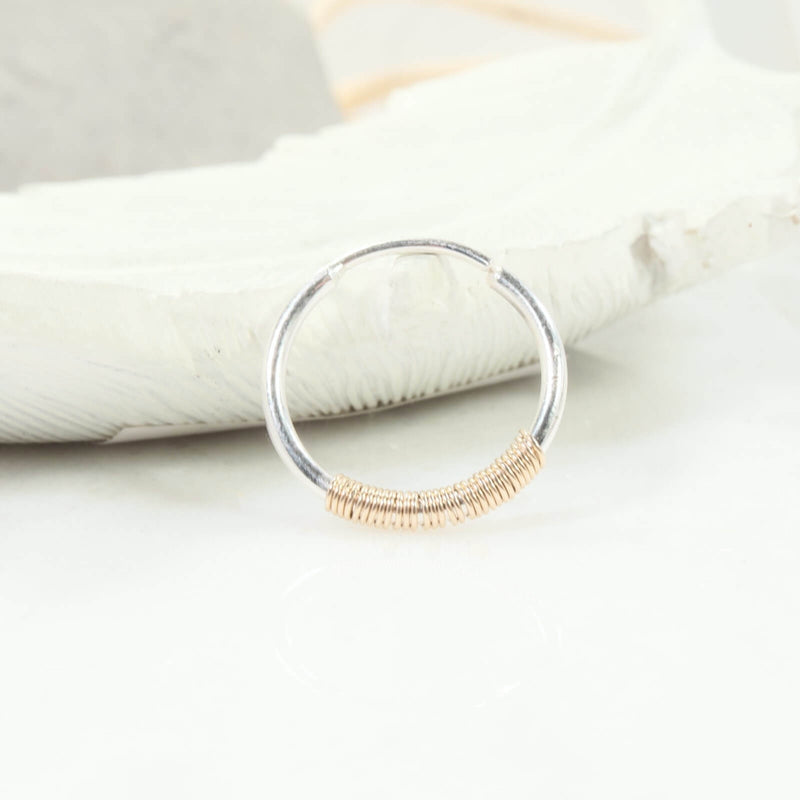silver illusion hoop with gold wrap