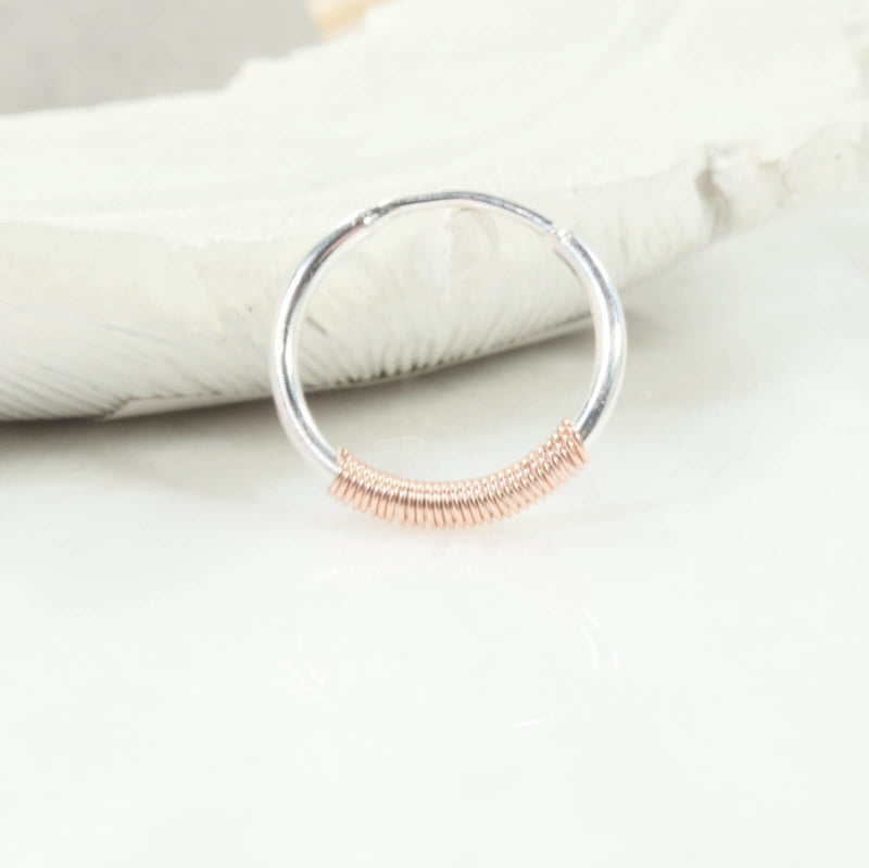 silver illusion hoop with pink gold