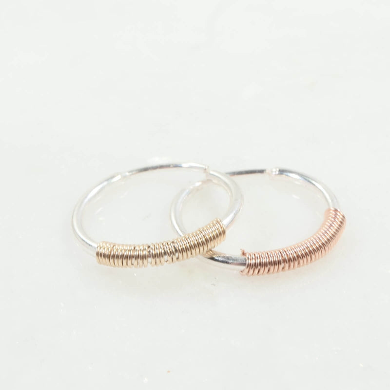silver illusion hoop with gold or pink gold wrap