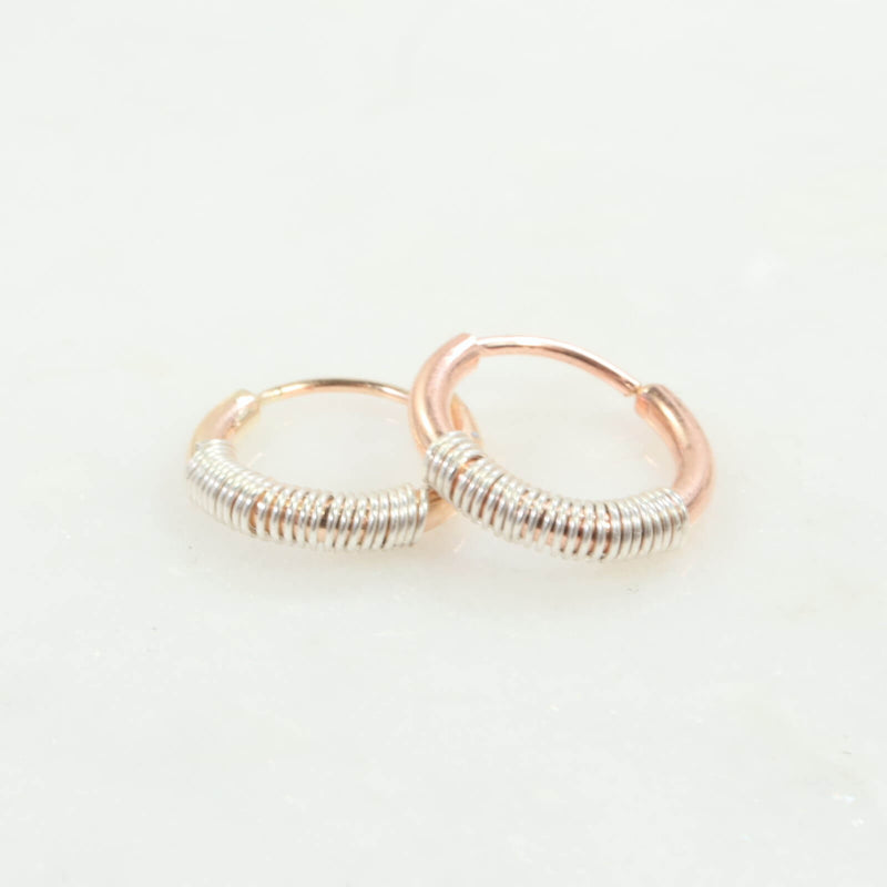 illusions wrapped single hoop gold or pink gold with silver wrap