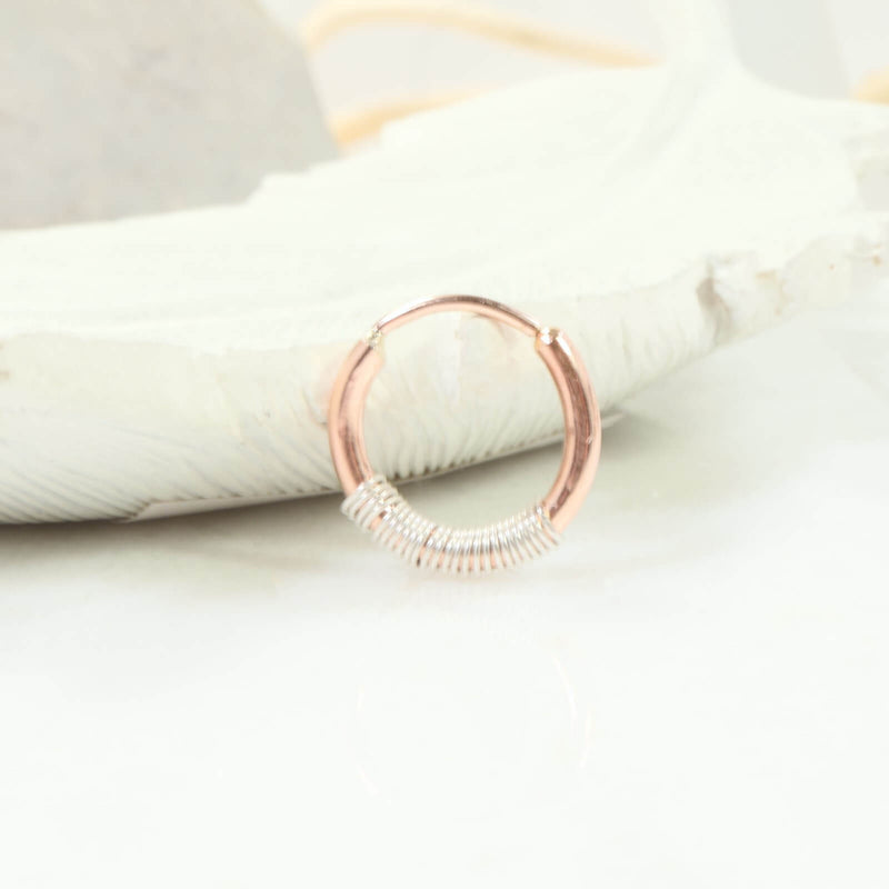 illusions wrapped single hoop pink gold with silver wrap