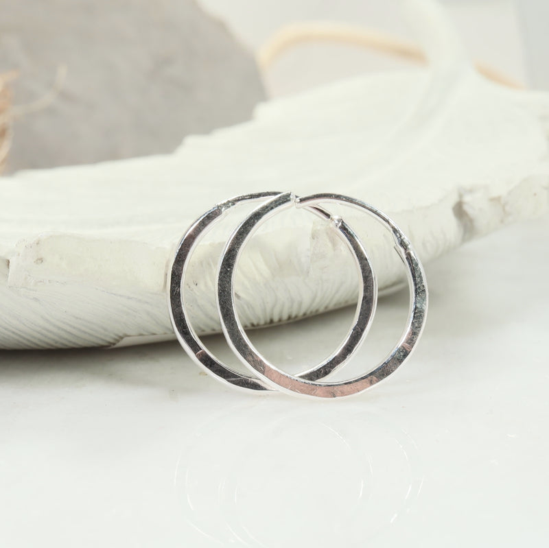 illusions hoops hammered silver